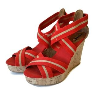 Mossimo NWOT Red Cork Wedge Sandals Sz 8.5
